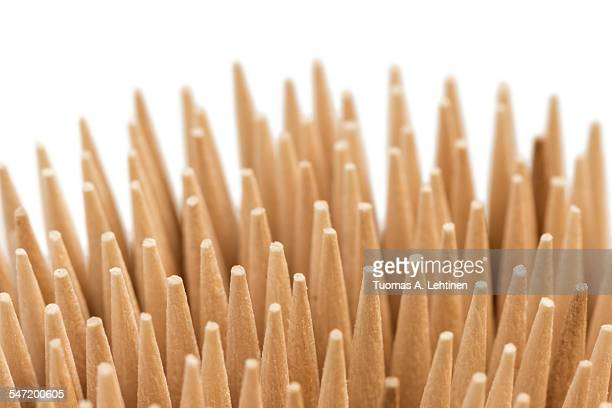 Closeup of stack of wooden toothpicks