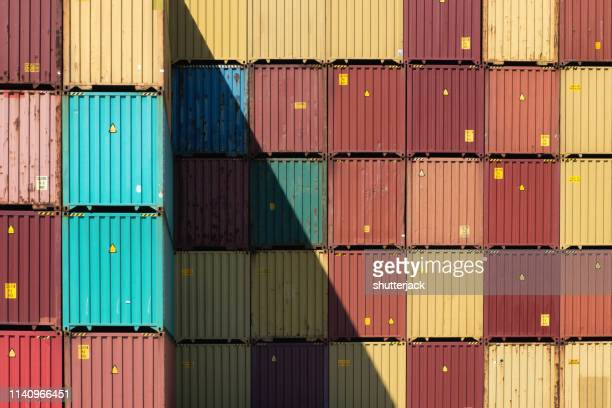 close-up of stacked shipping containers, long beach, california, united states - shipyard stock pictures, royalty-free photos & images