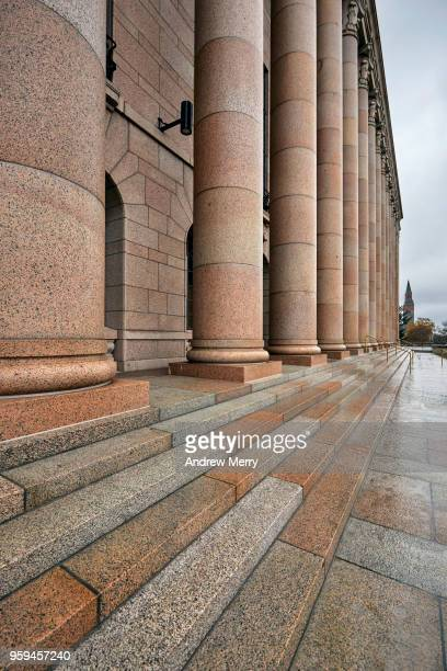 Close-up of stairs and column, Parliament House Helsinki, Eduskuntatalo, Parliament of Finland