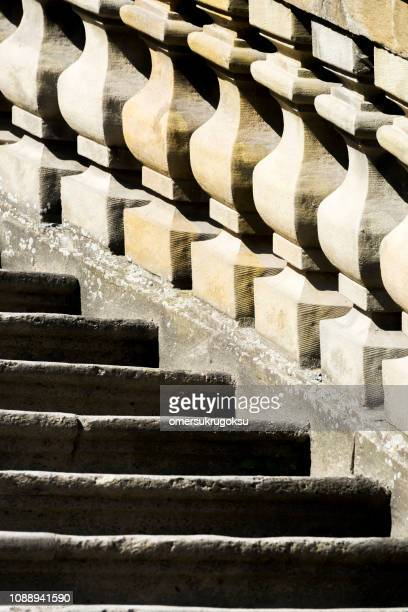 Close-up of stairs of Scherenbergtor of Marienberg Fortress in Wurzburg, Germany