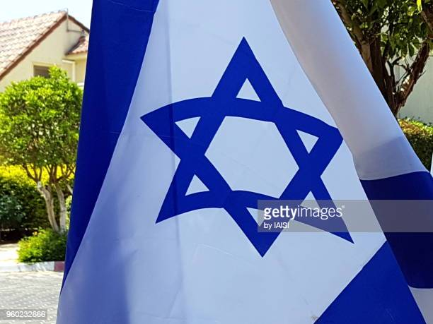 Close-up of star of David on the Israeli flag