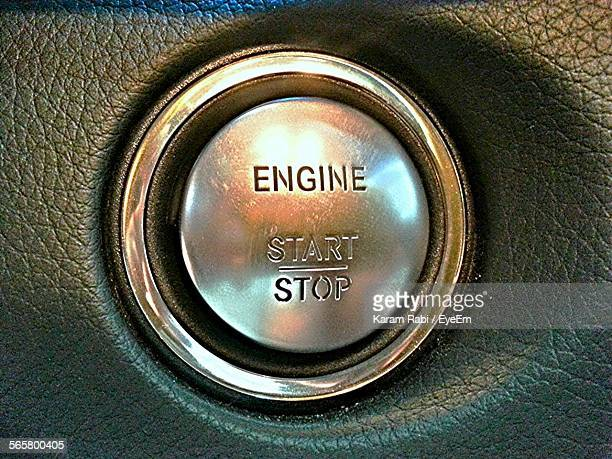 Close-Up Of Start And Stop Button In Car