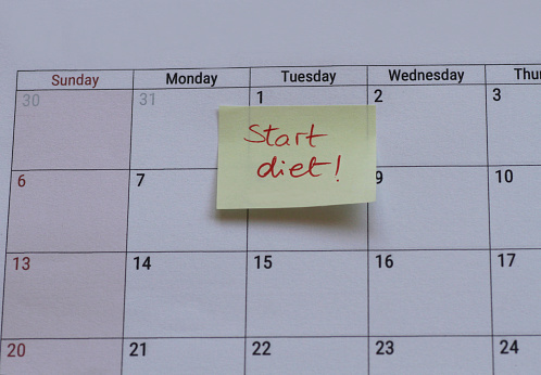 "Close-up Of ""Start Diet"" Written On Calendar - gettyimageskorea"