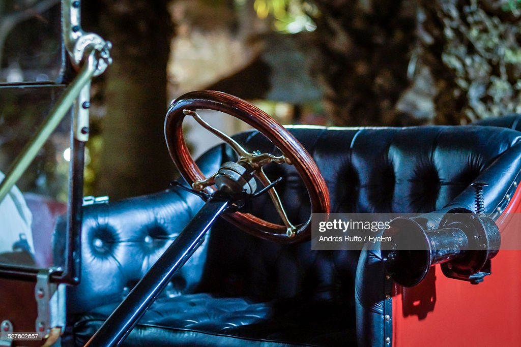 Close-Up Of Steering Wheel And Seat Of Rolls Royce : Stock Photo