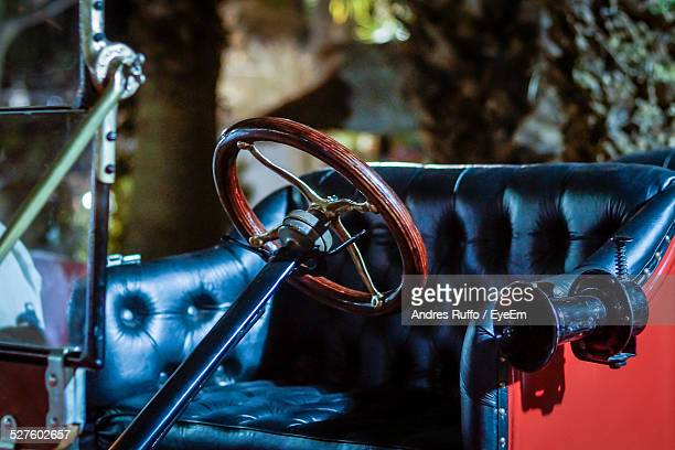 Close-Up Of Steering Wheel And Seat Of Rolls Royce