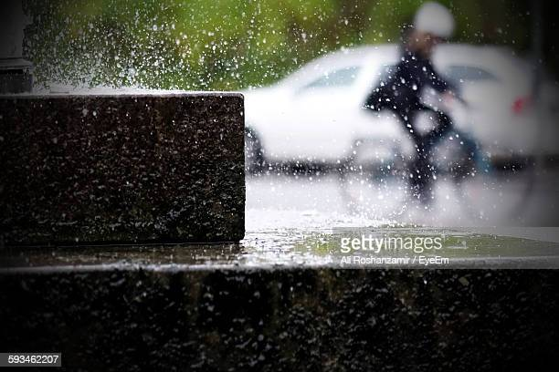Close-Up Of Steps In Rainy Weather