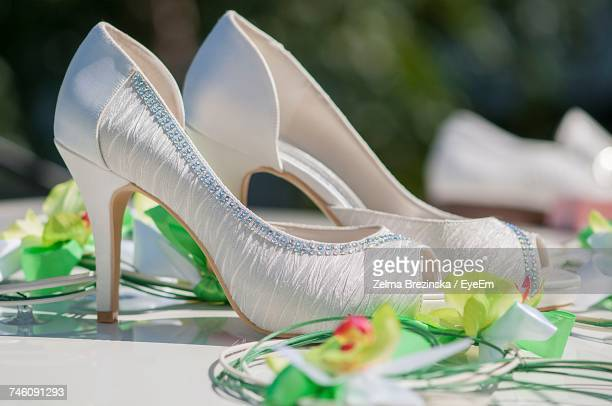 Close-Up Of Stilettoes Amidst Artificial Flower Decoration On Car Roof