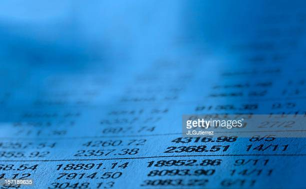 Close-up of stock market data list