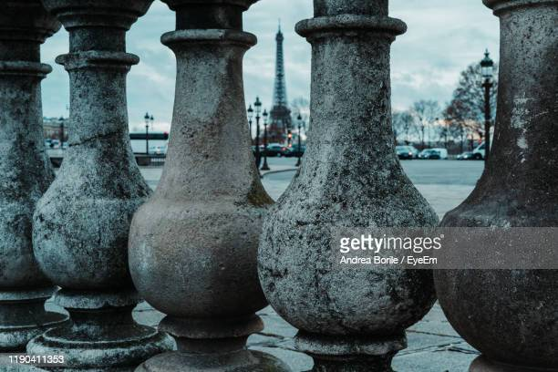 close-up of stone railing - paris rocks stock pictures, royalty-free photos & images