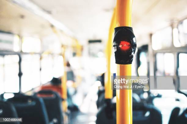Close-Up Of Stop Button In Bus