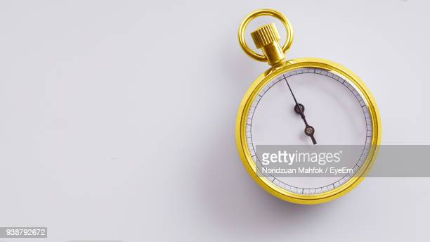 Close-Up Of Stopwatch On White Background
