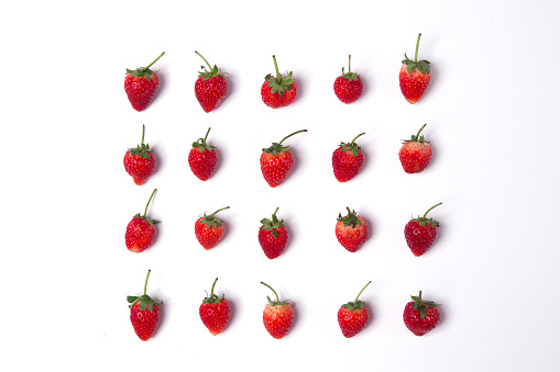 Close-Up Of Strawberries Against White Background - gettyimageskorea