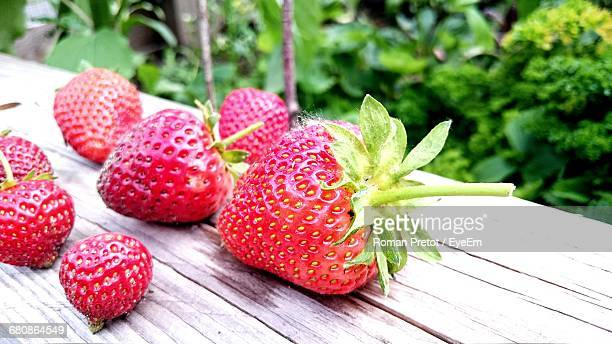 close-up of strawberries on table - roman pretot stock-fotos und bilder