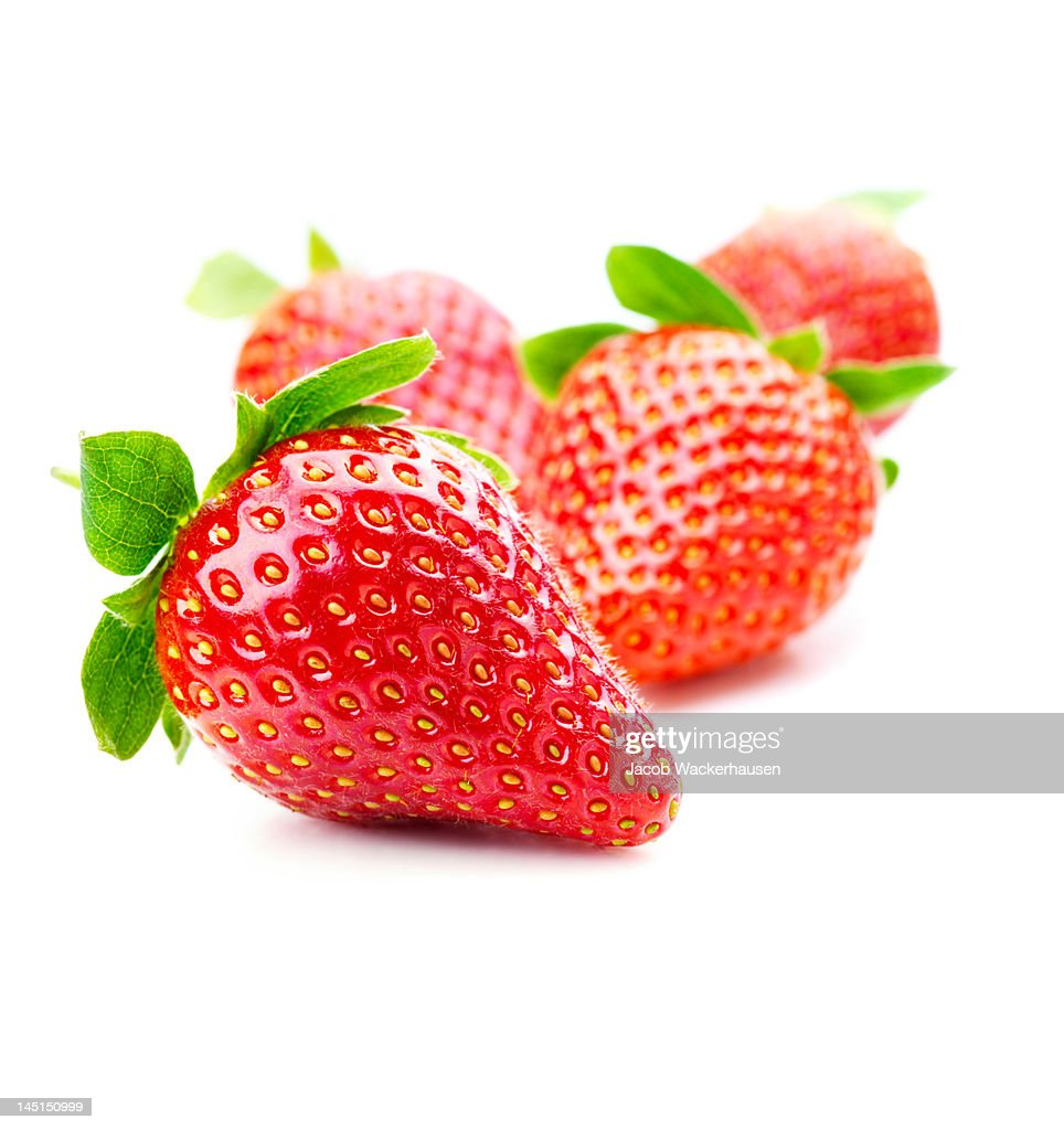 Close-up of strawberries on white background : Stock Photo
