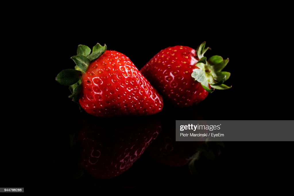 Close-Up Of Strawberries Over Black Background : Stock Photo