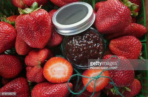 Close-up of strawberry jam