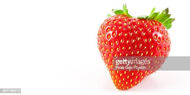 Close-Up Of Strawberry On White Background
