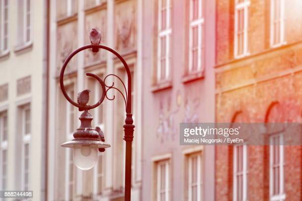 close-up of street light against buildings - pomorskie province stock photos and pictures