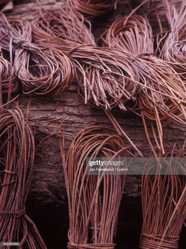 Close-Up Of Strings Over Wood : Stock Photo