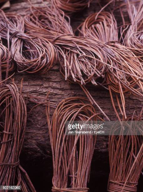 Close-Up Of Strings Over Wood