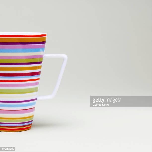 Close-up of striped mug