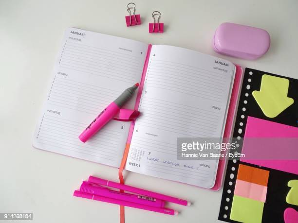 Close-Up Of Study Supplies On Table