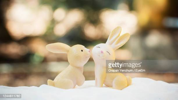 close-up of stuffed rabbit doll - easter sunday stock pictures, royalty-free photos & images