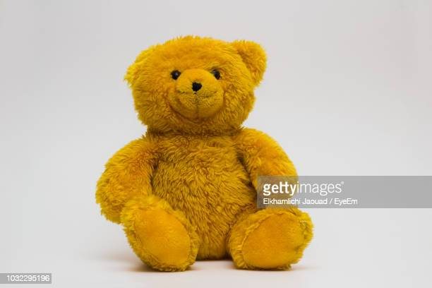 close-up of stuffed toy against white background - teddy bear stock photos and pictures
