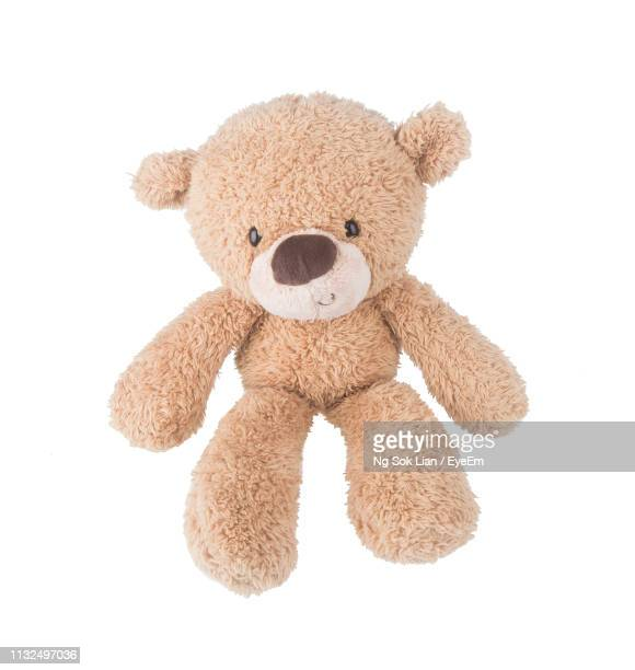 close-up of stuffed toy against white background - animal representation stock pictures, royalty-free photos & images