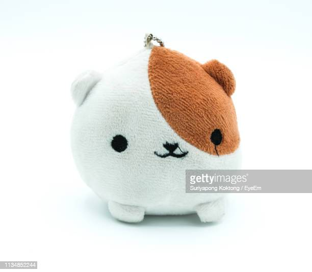 close-up of stuffed toy against white background - soft toy stock pictures, royalty-free photos & images