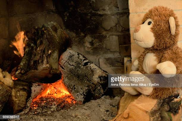 Close-Up Of Stuffed Toy By Fireplace At Home