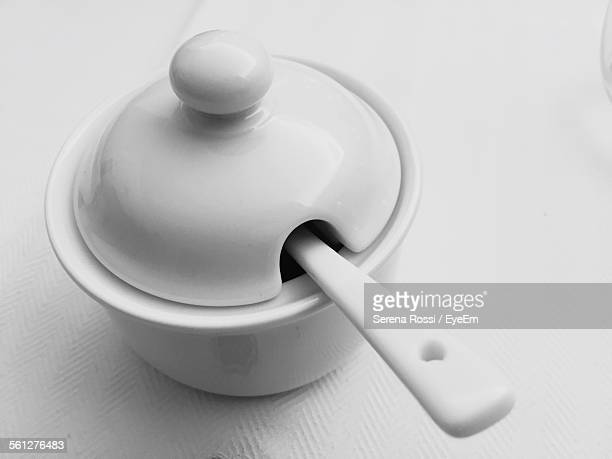 close-up of sugar bowl - sugar bowl crockery stock photos and pictures