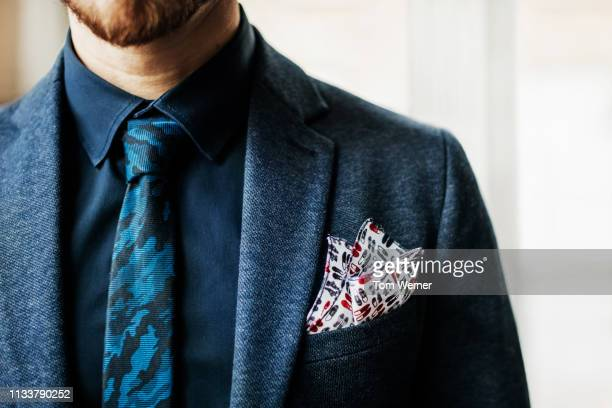 close-up of suit breast pocket - solapa papel fotografías e imágenes de stock