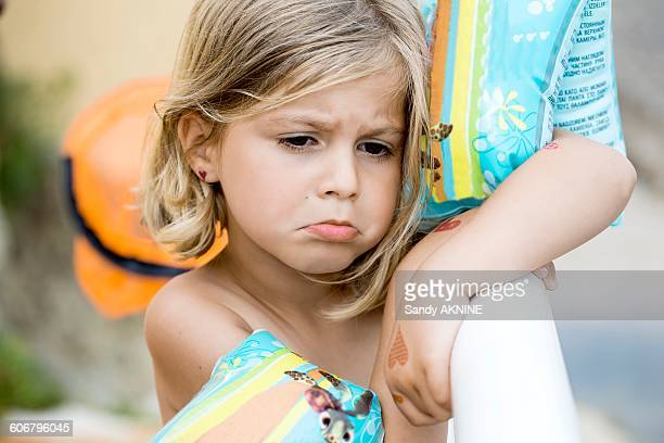 close-up of sulky little girl - forbidden stock pictures, royalty-free photos & images