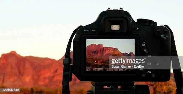Close-Up Of Superstition Mountains On Camera Screen