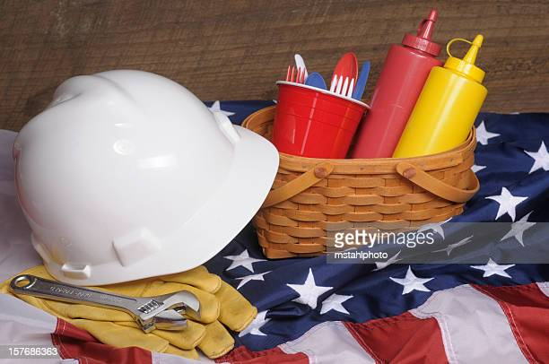close-up of supplies for a labor day picnic - labor day stock pictures, royalty-free photos & images