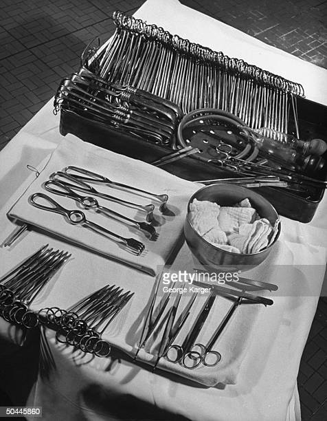 Closeup of surgeon's instruments used in appendectomy
