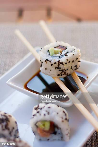 Close-up of sushi california rolls