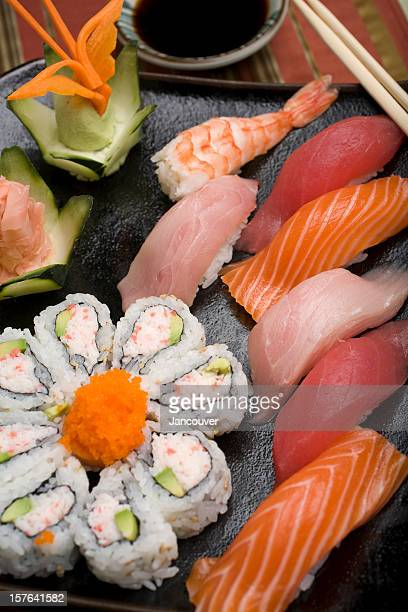 Close-up of sushi in California rolls