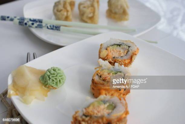 close-up of sushi in plate - amanda salmon stock pictures, royalty-free photos & images