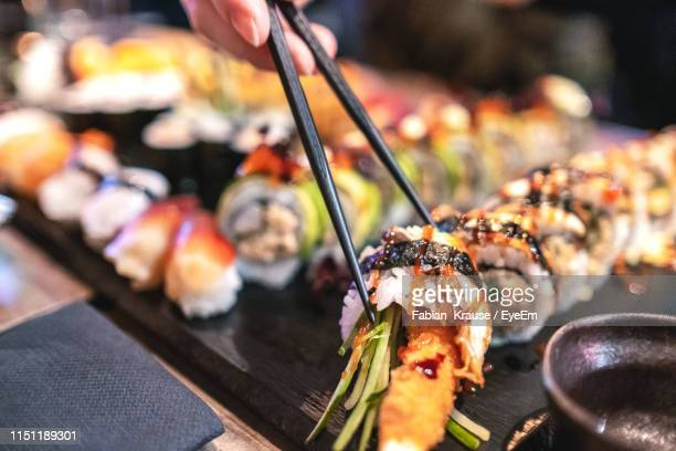 close-up of sushi on plate - maki sushi stock pictures, royalty-free photos & images