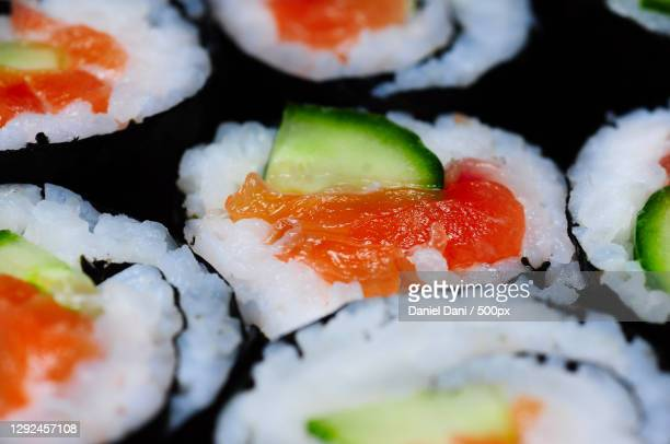 close-up of sushi served in plate - maki sushi stock pictures, royalty-free photos & images