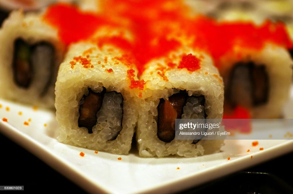 Close-Up Of Sushi Serving In Plate : Foto stock