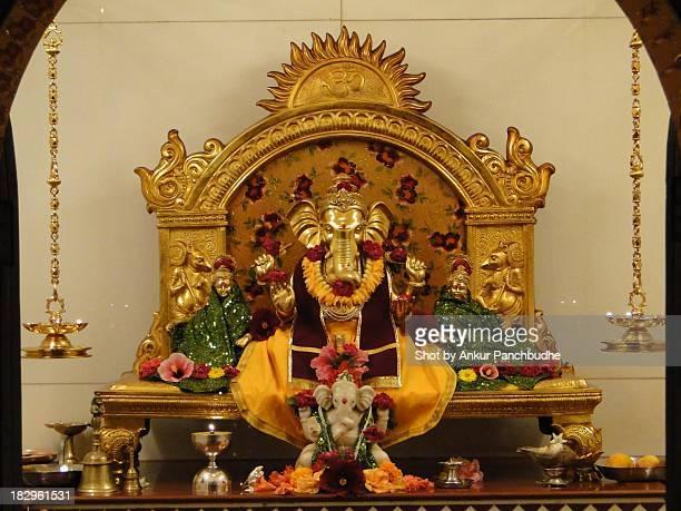 closeup of suvarna ganesh in malvan - hindu god stock photos and pictures