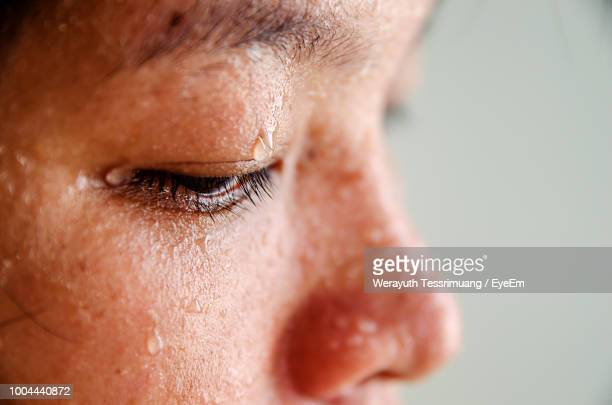 close-up of sweat on face - sweat stock pictures, royalty-free photos & images