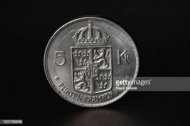 Closeup of Swedish five Krona coin