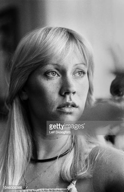Close-up of Swedish Pop musician Agnetha Faltskog, of the group ABBA, Stockholm, Sweden, July 1977.