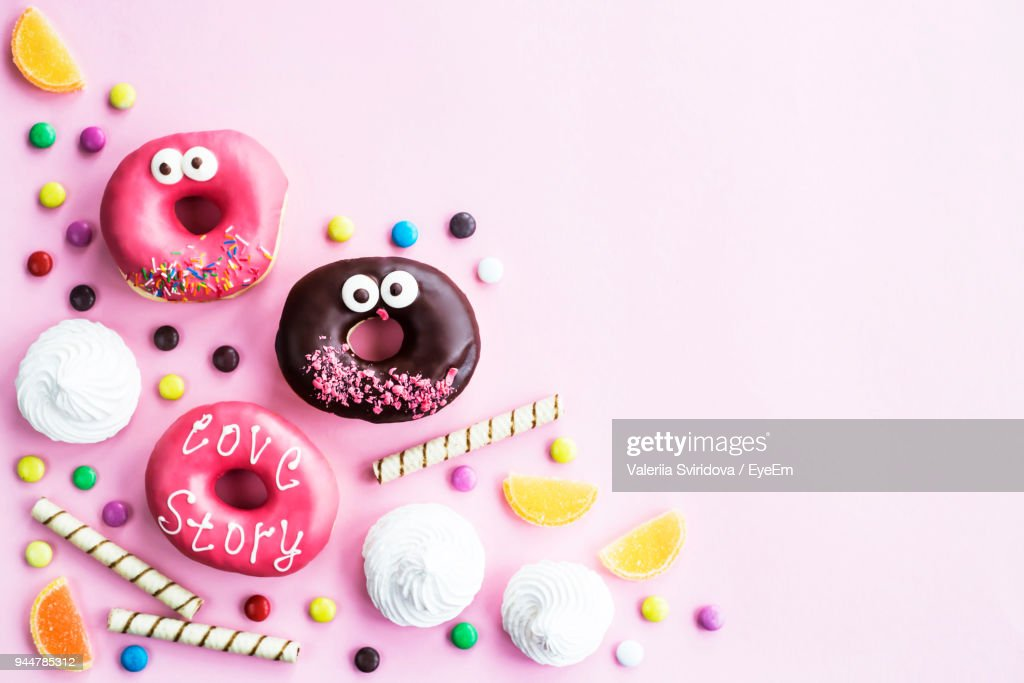 Close-Up Of Sweet Food Against Pink Background : Stock Photo