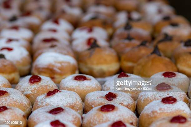 close-up of sweet food - sufganiyah stock pictures, royalty-free photos & images