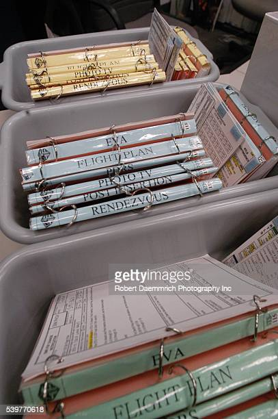 Closeup of systems checklist books in the Mission Control Center for upcoming space shuttle flight STS114 the next shuttle flight scheduled for 2004...